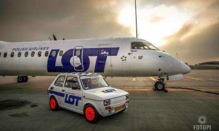 Sesja Polskiego Fiata 126 PLL LOT z rejsowymi samolotami
