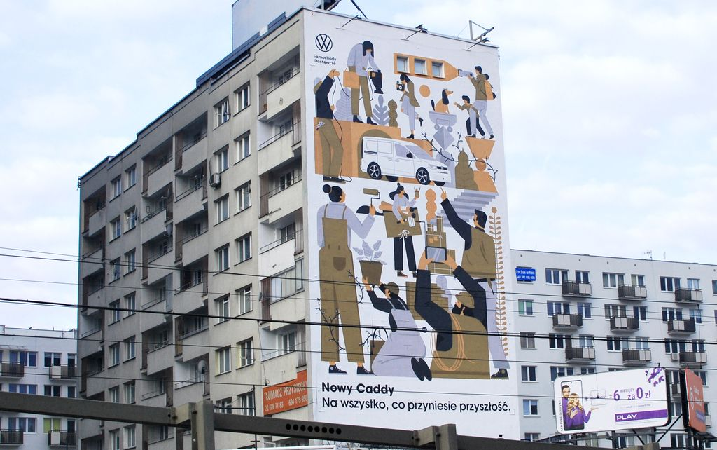 VW Caddy 5 na muralu w Warszawie
