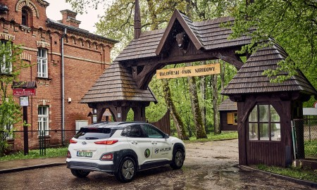 Elektryczny Hyundai w Parku Białowieskim